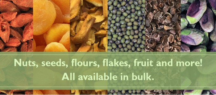 Nuts, seeds, flours, flakes, fruit and more!